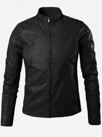 Black Leather Jacket with Collar