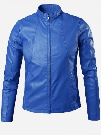 Light Blue Leather Jacket for Men