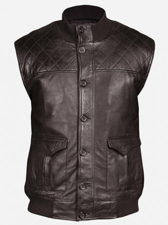Lightweight Soft Men Brown Quilted Leather Vest