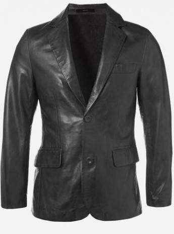 Modern Look Timeless Men 2 Button Black Leather Coat