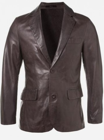 Modern Look Timeless Men 2 Button Brown Leather Coat