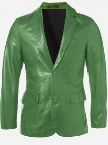 Modern Look Timeless Men 2 Button Green Leather Coat