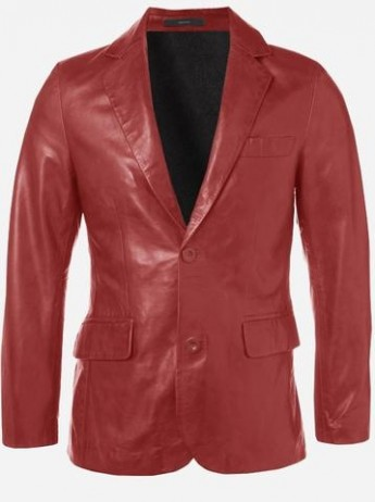 Modern Look Timeless Men 2 Button Red Leather Coat