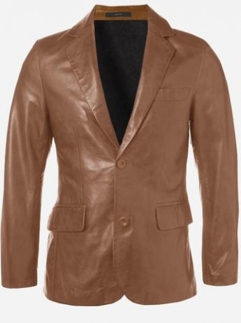 Modern Look Timeless Men 2 Button Tan Leather Coat