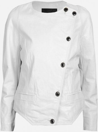 White Round Neck Leather Jacket
