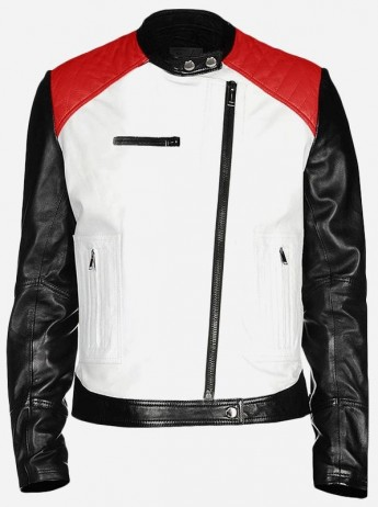 Mens Quilted Leather Motorcycle Jacket