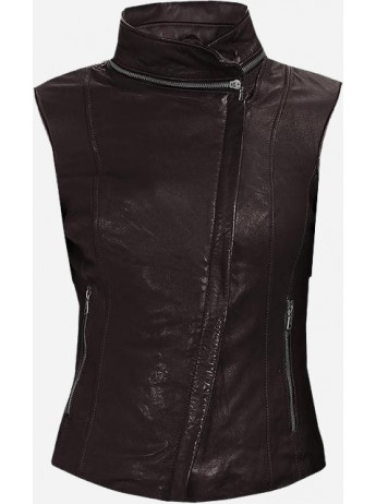 New Look Brown Leather Vest Women