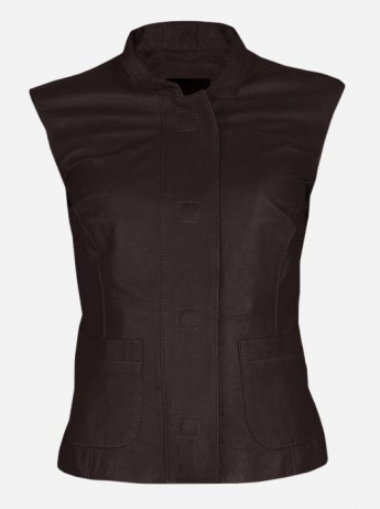 Lightweight Soft Women Brown Leather Vest