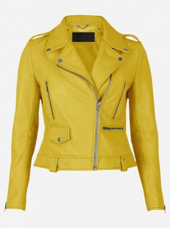 Party Wear Yellow Leather Jacket for Women