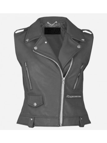 Party Wear Gray Leather Vest for Women