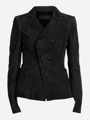 Premium Vintage Women's Black Nubuck Leather Jacket