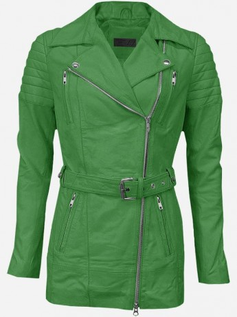 Premium Women Green Long Leather Jacket