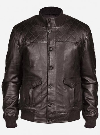Quilted Look Men Brown Bomber Leather Jacket