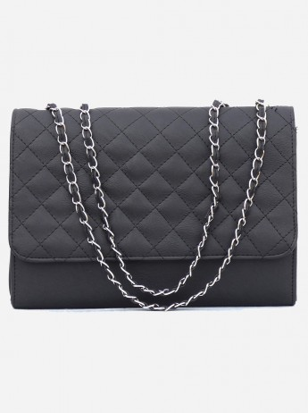 Non-Leather Women Black Shoulder Bag with Silver Chain Handle
