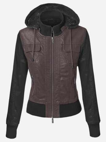 Women Hoodie With Leather Jacket