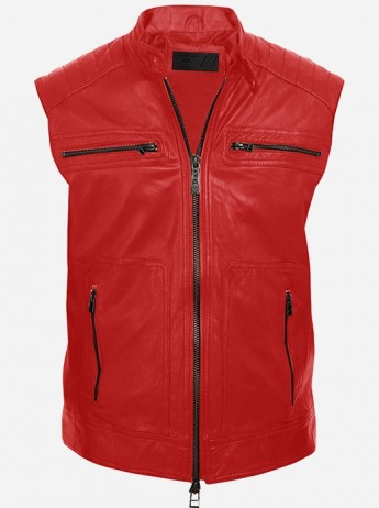 Red Motorcycle Leather Vest for Men