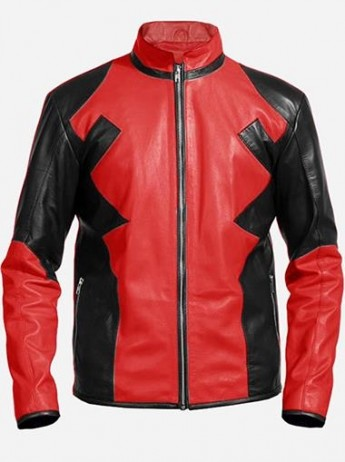 Red & Black Deadpool Leather Jacket For Men
