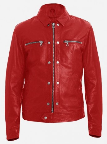 Fashionista Red Men's Spiked Leather Jacket