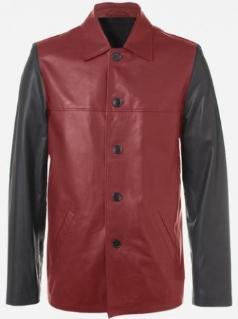 Red and Black Reefer Leather Coat for Men