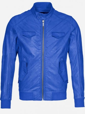 Regular Fit Blue Leather Jacket for Men