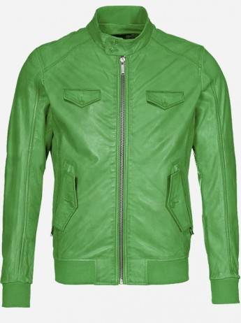 Regular Fit Green Leather Jacket for Men