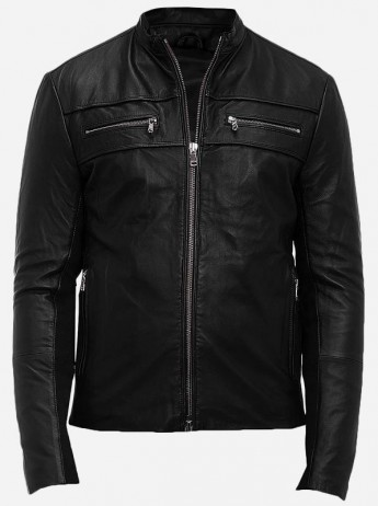 Side Zip Leather Jacket