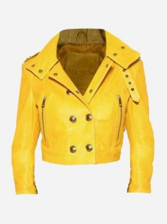 Short Length Yellow Studded Leather Jacket Women