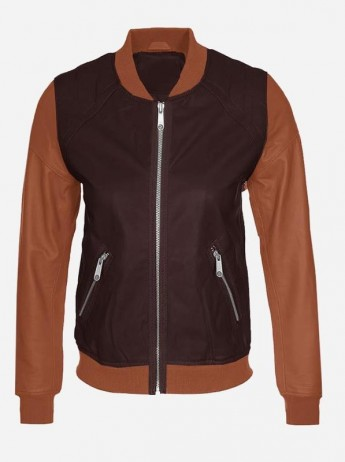 Tan Brown Women Handmade Bomber Jacket