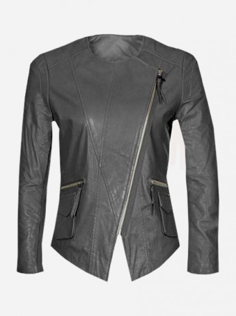 Slim Collarless Women Gray Leather Jacket