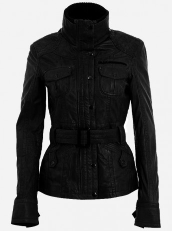 High Collar Leather Jacket for Women