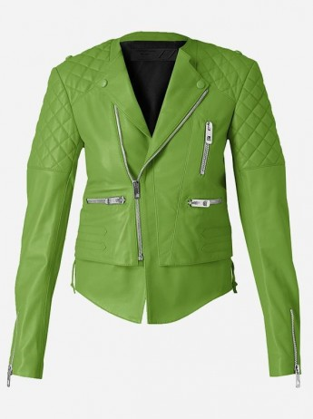 Soft Quilted Women Green Leather Jacket