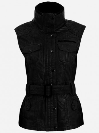 Soft Lightweight Women Black Leather Biker Vest