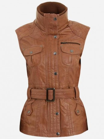 Soft Lightweight Women Tan Leather Biker Vest