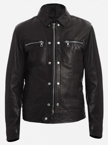 Street Fashion Men's Black Leather Biker Jacket