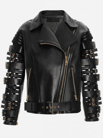 Street Style Belted Women Black Biker Leather Jacket