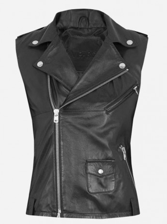 Street Style Women Black Leather Vest