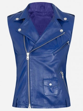 Street Style Women Blue Leather Vest