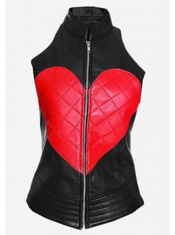 Street Fashion Women Heart Leather Vest
