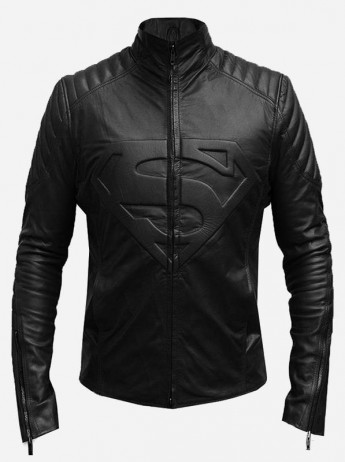 Superman Logo Women's Black Leather Jacket