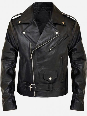 Men Black Terminator Motorcycle Leather Jacket
