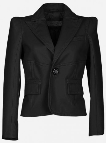 Timeless 1 Button Women Black Leather Blazer