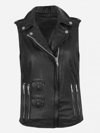 Timeless Moto Women's Black Leather Vest