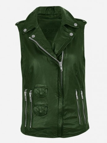 Timeless Moto Womenswear Green Leather Vest