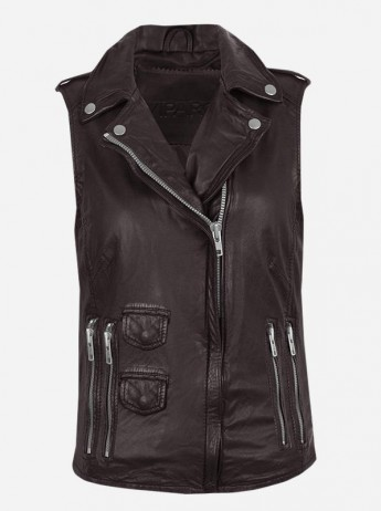 Timeless Moto Women's Brown Leather Vest