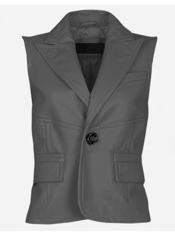 Timeless 1 Button Women Gray Leather Vest