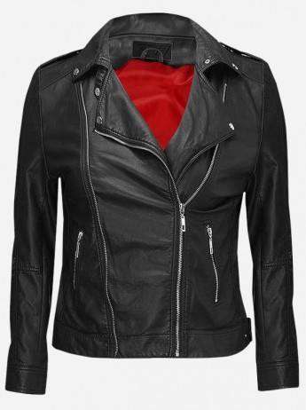 Women Side Zip Leather Jacket