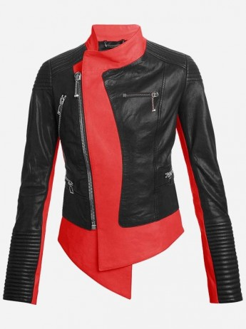 Unique Red & Black Women's Biker Leather Jacket