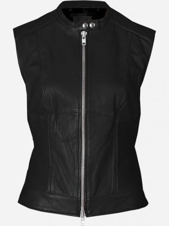 Women's Black Leather Biker Vest