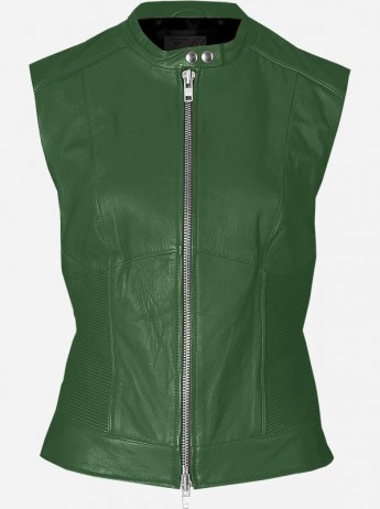 Green Leather Vest for Women