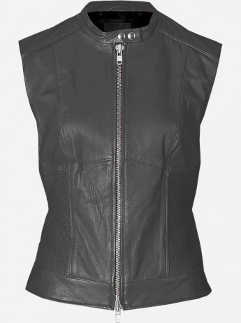 Vintage Look Women Gray Leather Vest